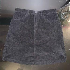 Brandy Melville Juliette Black Corduroy Mini Skirt